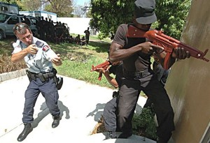 An RCMP officer training Haitian National Police recruits in 2005.