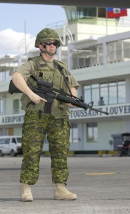 A Canadian soldier at the Port-au-Prince airport on February 29, 2004.